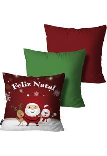 Kit 3 Capas Para Almofadas Mdecor De Natal Multicolorido