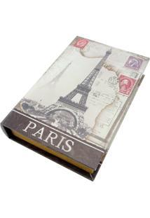Porta Objetos Kasa Ideia Com Chave Paris 26X17Cm Cinza