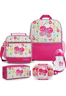 Conjunto Mochila, Pote E Squeeze Infantil Pequeninos Jacki Design Rosa