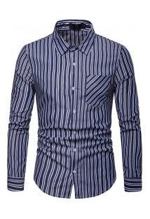 Camisa Masculina Com Listras Verticais Finas Manga Longa - Azul Escuro