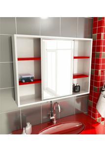 Espelheira Para Banheiro Modelo 22 80 Cm Branca E Vermelha Tomdo