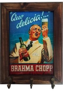 Porta Chaves Retrô Brahma Chopp - Madeira - 3 Ganchos