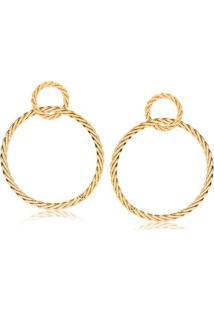 Brinco De Argola Dupla Com Design De Corda Folheado Francisca Joias - Feminino-Dourado