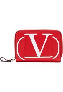 Valentino Carteira De Couro Com Logo - Vermelho