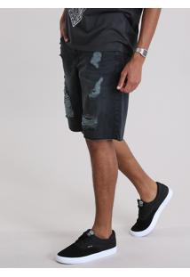Bermuda Jeans Reta Destroyed Preta