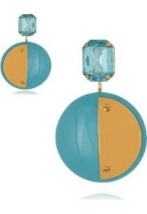 Brinco Le Diamond Acrílico Geométrico Base Cristal - Feminino-Azul