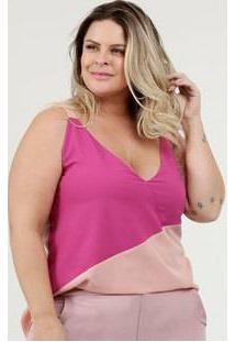 Blusa Feminina Bicolor Plus Size Sem Manga Marisa