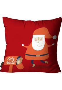 Capa Para Almofada Mdecore Natal Papai Noel Vermelha 45X45Cm