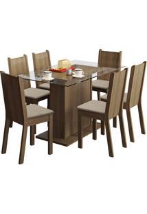 Sala De Jantar Madesa Base De Madeira Com Tampo De Vidro E 6 Cadeiras Gales - Rãºstico E Pã©Rola Marrom - Marrom - Dafiti