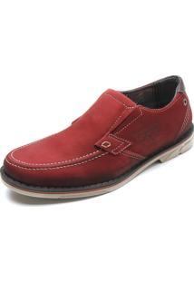 Sapato Couro Pegada Ilhós Vermelho