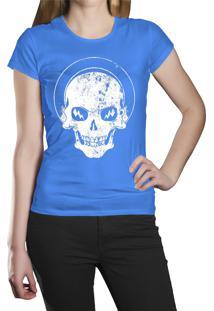 Camiseta Baby Look Hshop White Skull Azul Turquesa