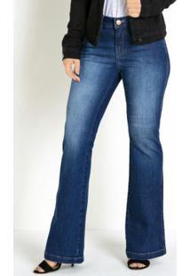 Calça Jeans Eventual Flare Com Bolsos Funcionais