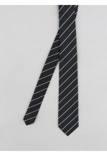 Gravata Masculina Listrada Em Jacquard Preta - Único