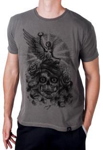 Camiseta Artseries Caveira Mexicana Com Anjo Grafite