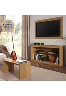 """Rack Com Painel E Suporte P/Tv Até 55"""" Com Mesa De Centro Inovare Multimóveis Natural"""