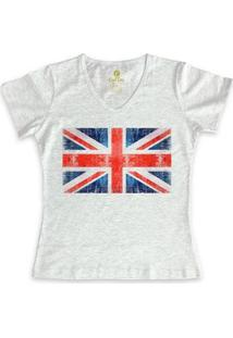 Camiseta Cool Tees Gola V Viagem Feminina - Feminino-Mescla Claro