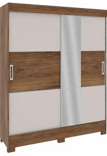 Guarda Roupa Solteiro Com 2 Portas C/ Espelho E 3 Gavetas Brilho Oceano-Rodial - Nature / Off White
