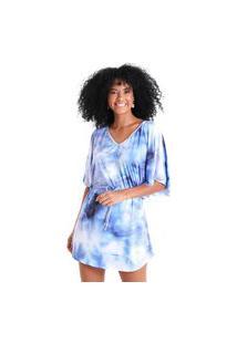 Vestido Curto Decote V Com Puxador Holi - Azul - Líquido