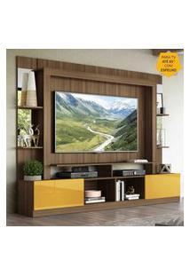 """Rack C/ Painel Tv 65"""" Prateleiras C/ Espelho Oslo Multimóveis Madeirado/Amarelo"""