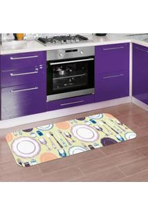 Tapete De Cozinha Mdecore Utensílios Verde 40X120Cm