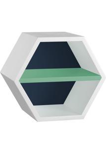Nicho Com Prateleira Favo 1151 Branco/Azul Noite/Verde Anis - Maxima
