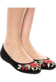 Sapatilha Dafiti Shoes Bordado Preto
