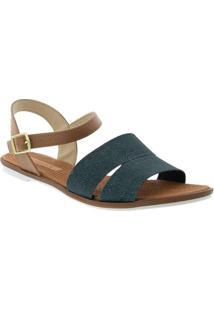 Sandália Rasteira Moleca Tiras Jeans Marinho Azul