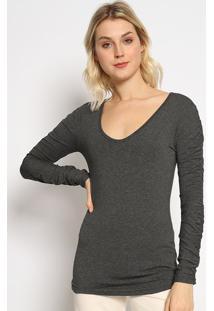 Blusa Lisa Com Franzidos - Cinza Escuro - Colccicolcci