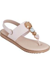 Sandália Modare Creme Com Enfeite