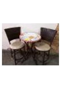 Conjunto De Mesa Com Cadeiras Mosaico Florido