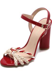 Sandália Di Cristalli Trançada Vermelha