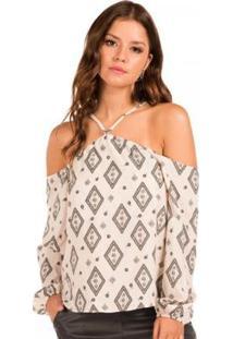 3549a6c38 ... Blusa Floriá De Alças - Feminino-Off White+Preto
