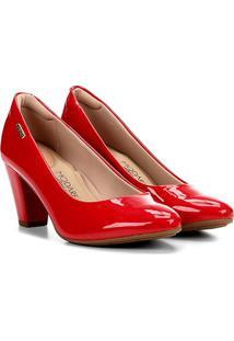 Scarpin Modare Salto Médio Grosso - Feminino-Vermelho Escuro