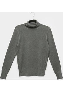 Suéter Tricot Miose Gola Alta Feminino - Feminino-Mescla