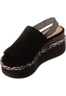 Sandália Plataforma Butique De Sapatos Camurça Preta Elástico