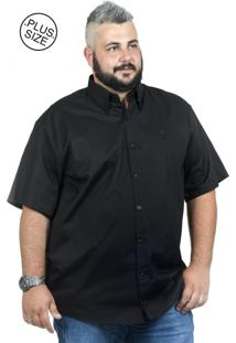 201ac20b5 ... Camisa Plus Size Bigshirts Manga Curta Elastano - Preta