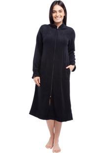 Robe Feminino De Inverno Plush Boucler Preto - Kanui