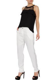 Calça Crepe Acetinado Mx Fashion Jim Off White