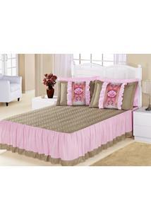 Kit Colcha (Colcha + Porta Travesseiro) Queen Bia Caqui Com Rosa Liso Com 5 Peças - Aquarela