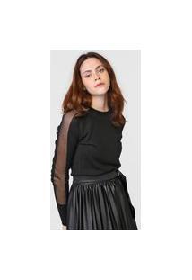 Blusa Tricot Calvin Klein Tule Preta