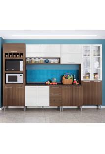 Cozinha Rafaela 0423T 15 Portas C/ Tampo – Genialflex - Castanho / Branco