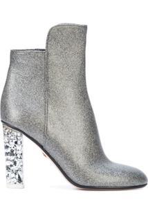 Andrea Gomez Ankle Boot 'Chiara' De Couro - Metálico