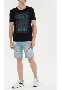 Camiseta Ckj Mc Est Calvin Jeans - Preto - Pp