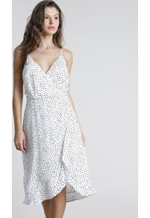 Vestido Feminino Midi Transpassado Estampado De Poá Com Babado Alça Fina Branco