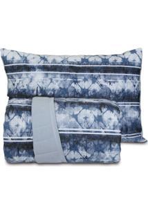 Jogo De Colcha King Altenburg Malha In Cotton 100% Algodão - Blue Dream Azul