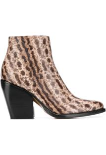 Chloé Ankle Boot Com Efeito Pele De Cobra - Neutro
