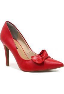 Scarpin Zariff Shoes Laço Feminino - Feminino-Vermelho