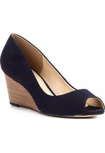 Peep Toe Couro Shoestock Anabela Básico Fachete - Feminino-Marinho