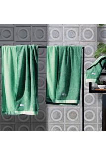 Toalha Banho Contemporânea Verde Claro Com Escuro - 75Cm X 1,40M Verde Altenburg
