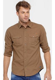 Camisa Colcci Tinturada Manga Longa Bolsos Masculina - Masculino